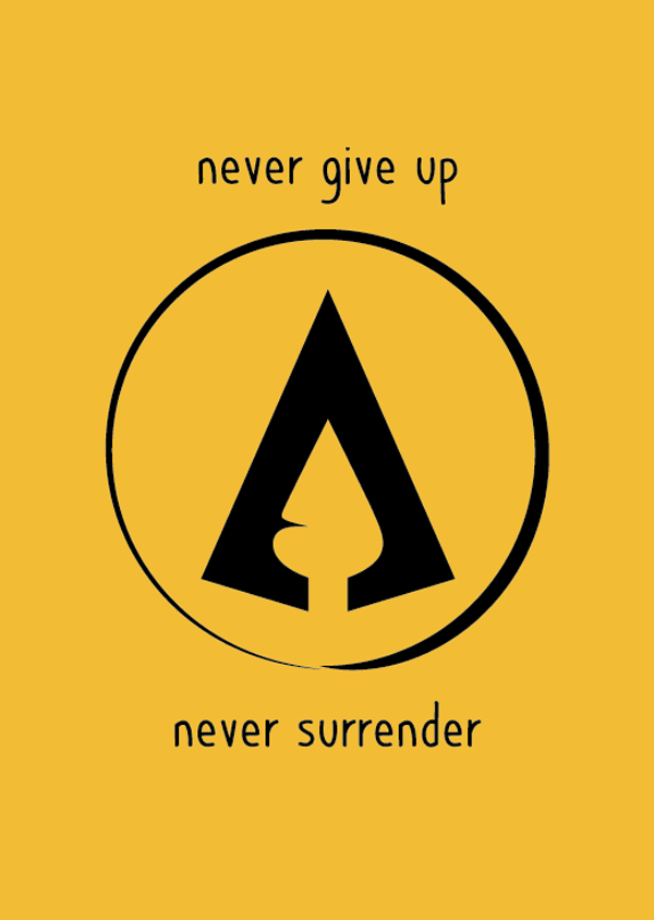 The Hotgates' A from the logo inside a circle both in black, with our standard yellow colour as background. Our motto never give up never surrender is also displayed. This illustration looks like a banner.