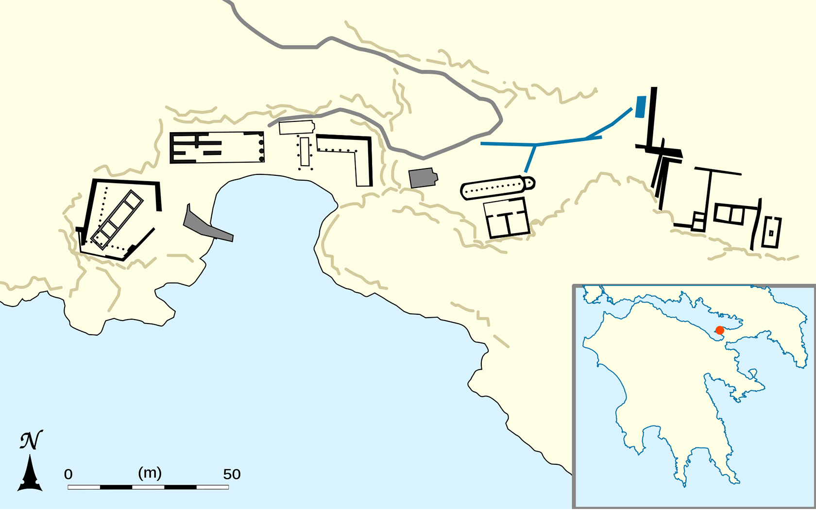 Map of the archeological site of Heraion of Perachora.