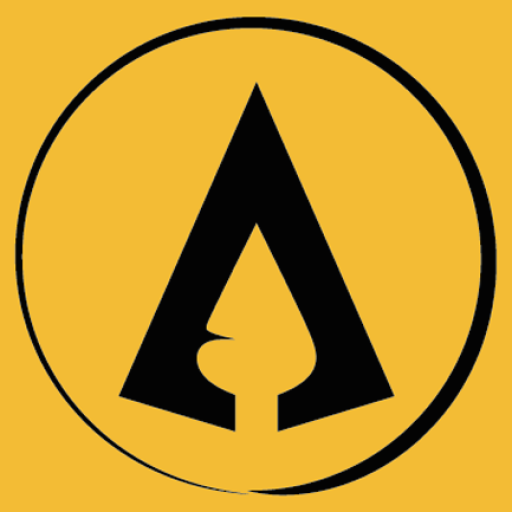 The Hotgates' A from the logo inside a circle both in black, with our standard yellow colour as background. It looks like a Spartan shield.