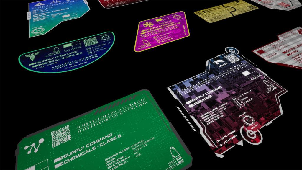 HG: Sci-Fi Cargo Labels Up Close